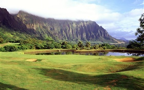 Hawaii, USA, golf course, grass, mountains, trees, lake, clouds HD wallpaper