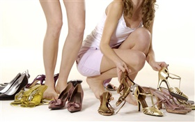 High-heeled shoes, girls long legs