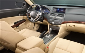 Honda Accord car, Instrument panel, steering wheel, front seats HD wallpaper