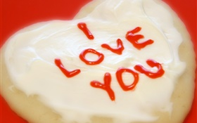 I Love You, cream cake HD wallpaper