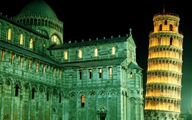 Italy Leaning Tower of Pisa, night, lights HD wallpaper