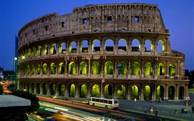 Italy Roman Colosseum at night HD wallpaper