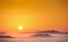 Italy, sunrise, sun, fog, morning, town HD wallpaper