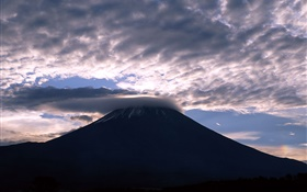 Japan, Mount Fuji, clouds, dusk HD wallpaper
