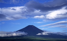 Japan nature scenery, Mount Fuji, blue sky, clouds HD wallpaper
