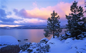 Lake Tahoe, winter, snow, trees, dusk, USA