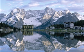 Lake, houses, mountains, water reflection HD wallpaper