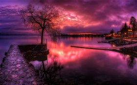 Lake, red sky, sunset, clouds, trees, lamps HD wallpaper