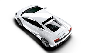 Lamborghini white car top view HD wallpaper