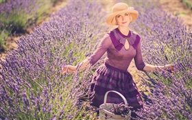 Lavender flowers field, blonde girl, hat, basket HD wallpaper