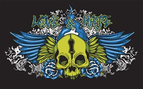 Love and Hate, skull, vector design pictures HD wallpaper