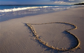 Love hearts, beach, sea HD wallpaper