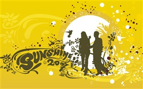 Love theme, lovers, sunshine, birds, vector design HD wallpaper