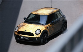 MINI Cooper car, fireworks decoration HD wallpaper
