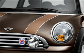 MINI brown car front view, headlight HD wallpaper