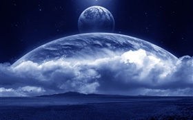 Magic world, dreamland, earth, clouds, planets HD wallpaper
