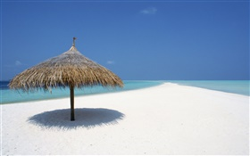 Maldives, beach, sea, awning HD wallpaper