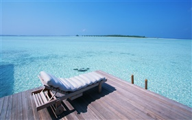 Maldives, dock, chair, sea HD wallpaper