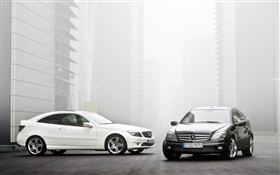 Mercedes-Benz white and black cars HD wallpaper
