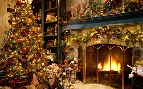 Merry Christmas, balls, decoration, fireplace, lights, warm HD wallpaper