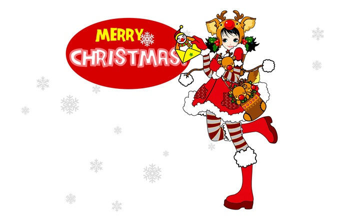 Merry Christmas, colorful dress girl, vector Wallpapers Pictures Photos Images