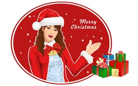Merry Christmas, girl, gifts, vector pictures HD wallpaper