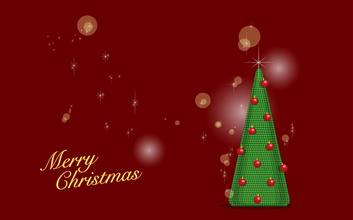 Merry Christmas, green tree, red background, vector Wallpapers Pictures Photos Images