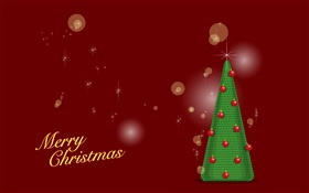Merry Christmas, green tree, red background, vector HD wallpaper
