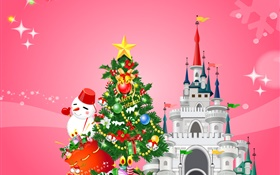 Merry Christmas, vector design, tree, snowman, gifts, castle HD wallpaper
