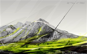 Mountain, green color, creative pictures HD wallpaper
