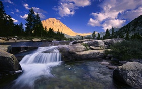 Mountain, rocks, river, trees, clouds HD wallpaper