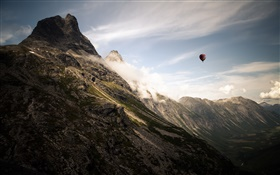 Mountains, clouds, hot air balloon HD wallpaper