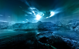 Night landscape, sea, coast, water, moon, clouds, blue style HD wallpaper