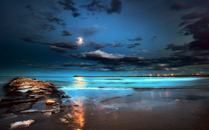Night, lights, moon, clouds, sea, pier Wallpapers Pictures Photos Images
