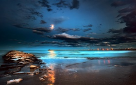 Night, lights, moon, clouds, sea, pier HD wallpaper