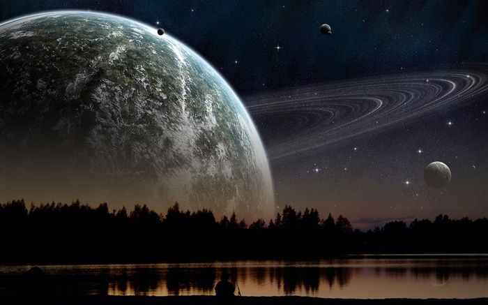 Night, mountains, lake, trees, planet, stars Wallpapers Pictures Photos Images