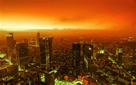 Night view city, skyscrapers, lights, dusk, red sky HD wallpaper