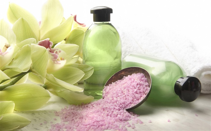 Orchid flowers, bottle, pink granules, SPA theme Wallpapers Pictures Photos Images