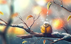 Painting, bird in winter, tree branch, snow, leaves HD wallpaper