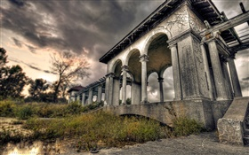 Palace ruins, dusk, clouds, HDR style HD wallpaper