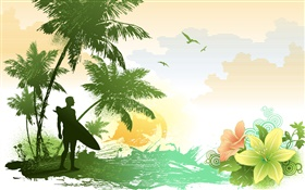 Palm trees, flowers, birds, sea, tropical, man, vector pictures HD wallpaper