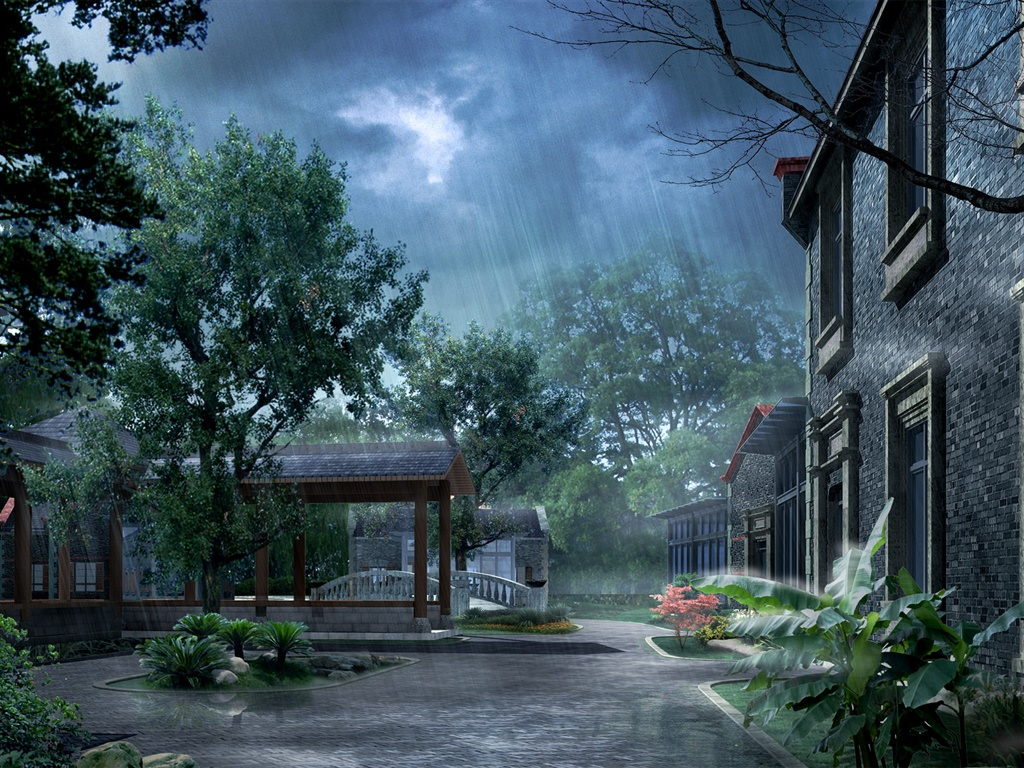 Park in the rain, house, trees, 3D render pictures 1024x768 wallpaper
