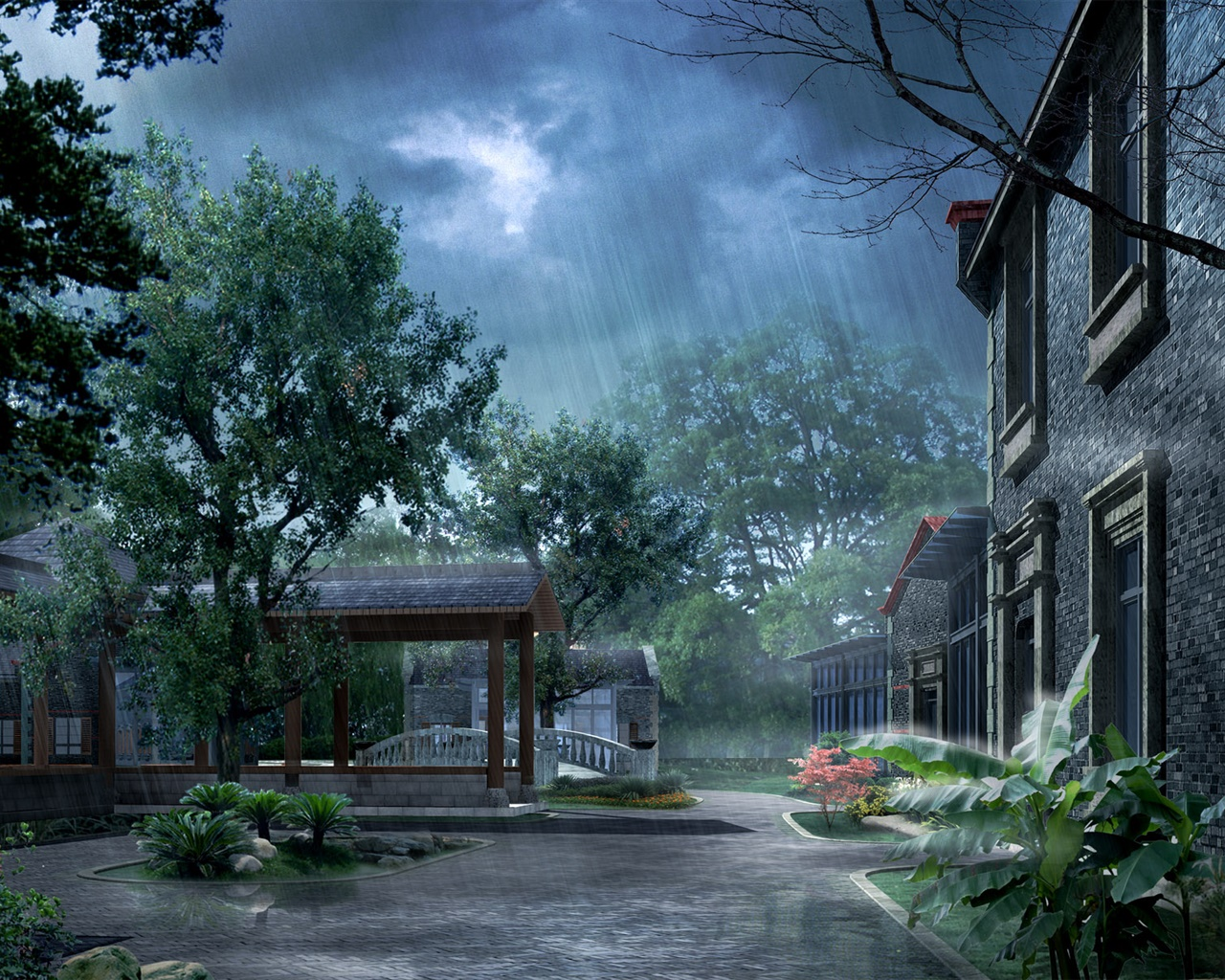 Park in the rain, house, trees, 3D render pictures 1280x1024 wallpaper