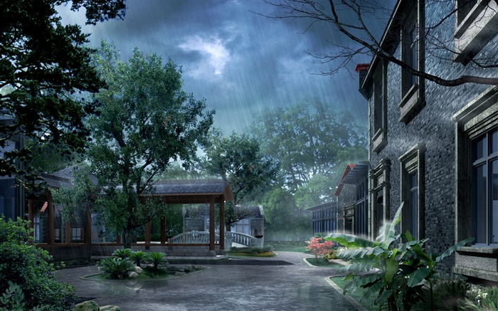 Park in the rain, house, trees, 3D render pictures Wallpapers Pictures Photos Images