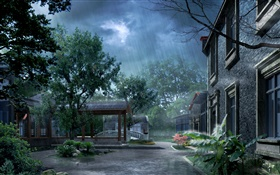 Park in the rain, house, trees, 3D render pictures HD wallpaper
