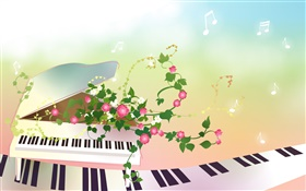 Piano, flowers, creative, vector design HD wallpaper