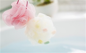 Pink and white bath ball close-up HD wallpaper