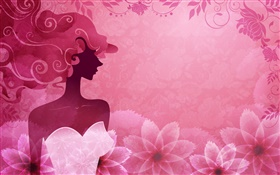Pink background, vector fashion girl, flowers, design HD wallpaper