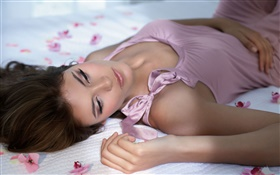 Pink dress girl sleep in bed HD wallpaper