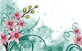 Pink flowers, vector pictures HD wallpaper